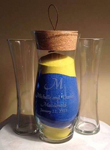 (Personalized Unity Sand Ceremony, Wedding and Anniversary, Cork Stopper, Hana Vase)