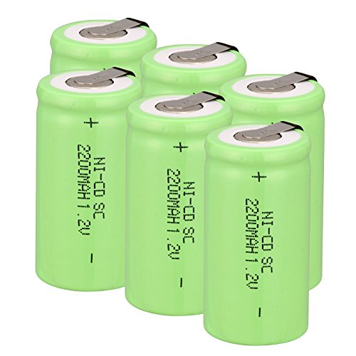 - Odstore 1.2V 2200mAh Ni-Cd Tap Sub C SC Rechargeable Battery Batteries (6 pcs Green)