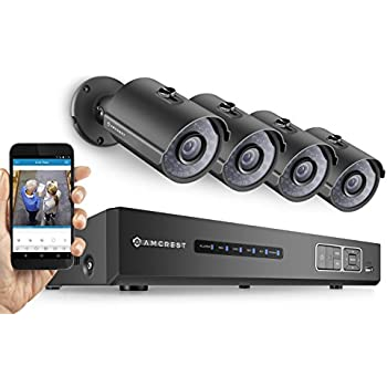 Amcrest Full-HD 1080P 4CH Video Security System - Four 1920TVL 2.1-Megapixel Weatherproof IP67 Bullet Cameras, 65ft IR LED Night Vision, 2TB HDD, HD Over Analog/BNC, Smartphone View (Black)