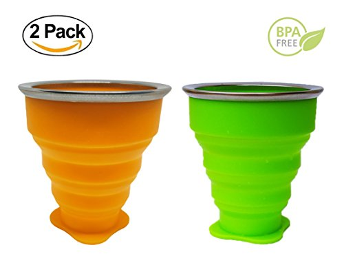 Folding Cup, Collapsible Coffee Mug, 8oz 100% Food-Grade Silicone Foldable Cup, Portable Travel Coffee Mug for Hiking Camping Outdoor Sports, Suitable For Kids (2, Green & Orange)
