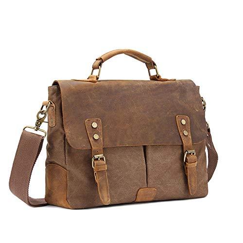 AWMYHKDW Luxury Mens Briefcase Bag Shoulder Crossbody Bags Military Canvas + Leather Messenger Bag Patchwork Handbag School Tote, Brown