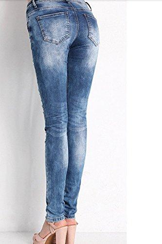Blu Skinny Slim Forma Ragazzo Casual Pantaloni Jeans Femminile pqx4wBn0Bz