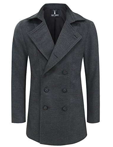 Tom's Ware Mens Premium Wool Blend Pea Coat TWNFD078J-CHARCOAL-US S