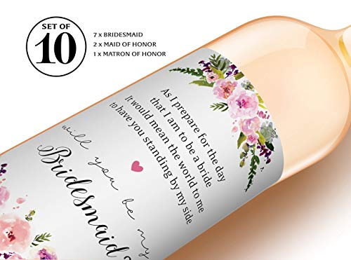 Bridesmaid Proposal ● SET of 10 ● Will You Be My BRIDESMAID Wine Labels, MAID of HONOR, MATRON of HONOR Labels, Wedding Party Ask, Bridal Party Ask, Bridesmaid Gift, 3.5