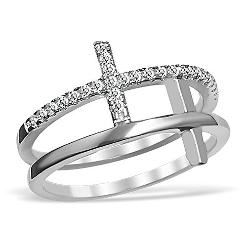 DTLA Sterling Silver Double Sideways Cross Ring with Cubic Zirconia Accents (5)