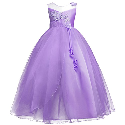Kids Girls Princess 5-16T Christmas Party Tulle Lace Flower Pageant Dress Floor Length Wedding Bridesmaid Long Holiday Evening Dance Maxi Ball Gown -