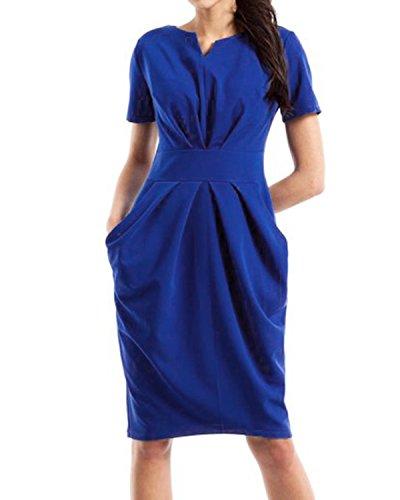 Jacansi Women High Waist Bodycon V-Neck Short Sleeve Knee-Length Sheath Dress Blue S