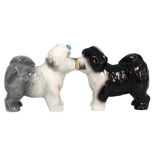 Westland Giftware Mwah Magnetic Old English Sheepdogs Salt and Pepper Shaker Set, (Old English Sheepdog)