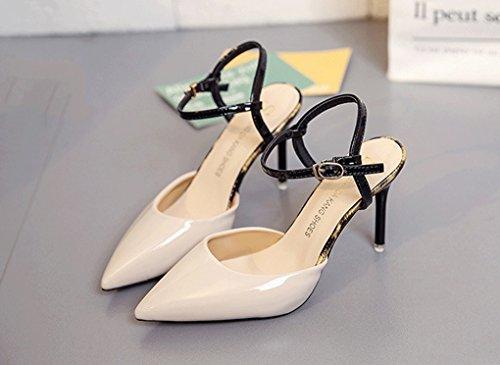 Verano Pequeños Acentuado de 1 de Tacón Alto Coreana de Zapatos Sandalias Tacón Zapatos Mujer Frescos Delgado de Alto Versión qxBH15