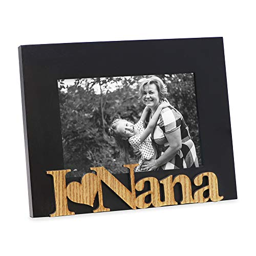"(Isaac Jacobs Black Wood Sentiments ""I Love Nana"" Picture Frame, 4x6 inch, Photo Gift for Nana, Grandma, Family, Display on Tabletop, Desk (Black))"