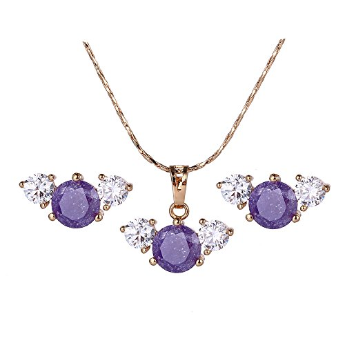 5 Wholesale Necklace Earring (Xuping Fantastic Snowflakes Stone Necklace Earrings Jewelry Set with Box for Women Thanksgiving Day Gift (Purple))