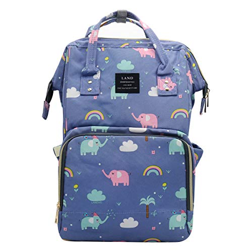 Land Baby Diaper Bag Backpack - Multi-Function Waterproof Maternity Travel Nappy Bags for Baby Care - Large Capacity, Durable and Stylish (Light Blue & Elephant)