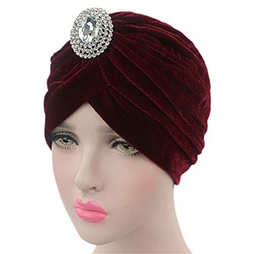 India Cap Women's Turban Hat Hijab Headband Jewel Brooch Turban Ear Warmer Hat 03 Size fits all