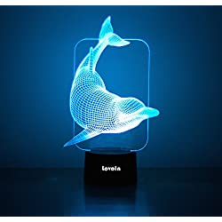 LovoIn Dancing Dolphin 3D LED Illusion Night Light Table Desk Room Lamp, 7 Colors Changing, Touch Switch USB Charging, Gift for Kids Family Friends and Home Decoration Light