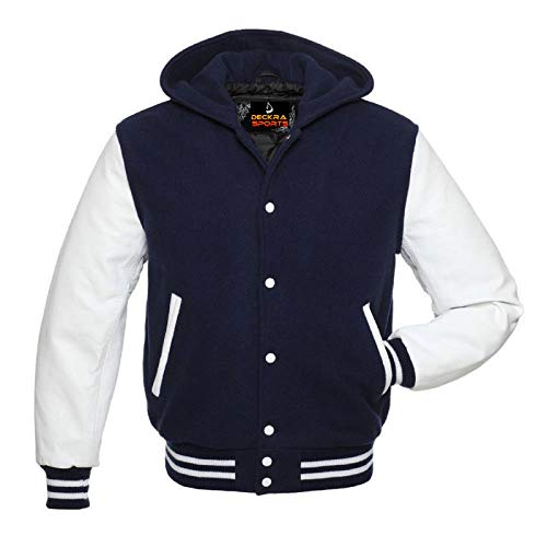 Men's Varsity Jacket Genuine Leather Sleeve and Wool Blend Letterman Boys College Varsity Jackets (Navy Blue (Hooded), Small) (Navy Jacket Wool)