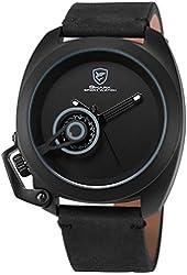 SHARK Men's SH447 Tawny Shark Quartz Black Crazy Horse Leather Strap Grey Date Display Wrist Watch