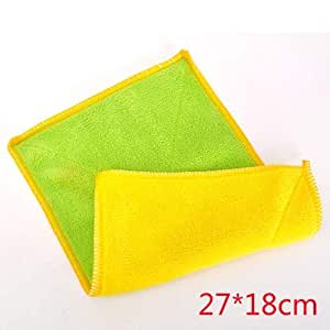 Linen Tablecloth No lint Absorbent rag Thickened Non-Stick Fiber Cloth Tablecloth Kitchen Household Cleaning Dish Towel Dish Cloth , 3272 Yellow Green