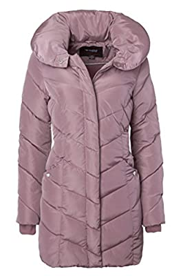 Sportoli Womens Winter Fleece Lined Chevron Quilted Puffer Jacket Coat with Hood