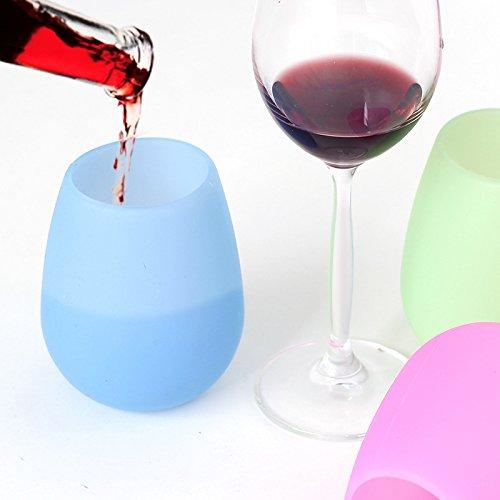 Vasos de vino Silicon Copas de cerveza de silicona plegable vasos de vino de silicona irrompible Shatterproof y reutilizables copas Party Set de 5