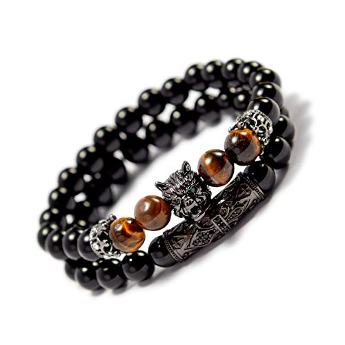 (KAMRESH Beaded Bracelets Sets for Men Women with Lion Head Crown Elastic Black Handmade Jewelry)