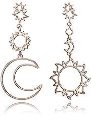 DSHT Retro oorringen zonnegod maangot asymmetrisch overdreven maan zon oorbellen vrouwelijk