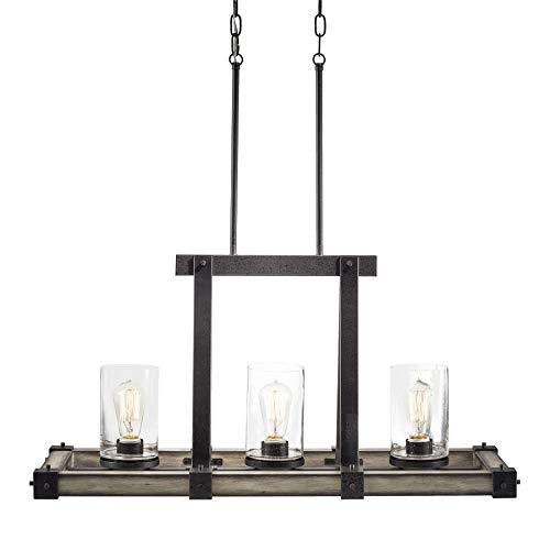 Kichler Barrington 12.01-in W 3-Light Anvil Iron With Driftwood Rustic Standard Kitchen Island Light with Seeded Shade