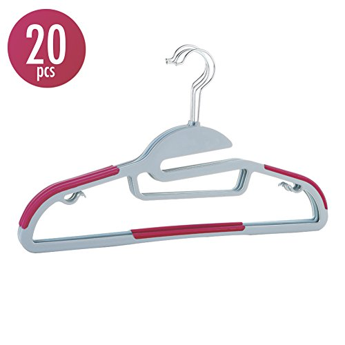 20pcs Hanger Sturdy Thick Flexible Clothes Hangers Organizer with 360-degree Swivel Steel Hook Nonslip S-shape Shoulder Antiwrinkle and Space Saving Design for All Kinds of Garments - (Strap Stacking Bar)