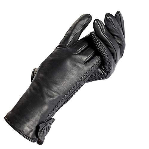 AMAZING AMAZING Fashion Gloves Women,Wrist Side Butterfly Decoration,Genuine Leather,Ladies Gloves,Female gIoves,