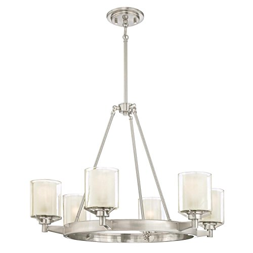 Westinghouse 6330700 Glenford Indoor Chandelier, Brushed Nickel Finish with Frosted Inner and Clear Glass Outer Shades, Six Light - Clear Outer Shade