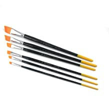 Paint Brush Set in Black with Yellow End Wood Handle 6-pieces (#2 #4 #6 #8 #10 #12)