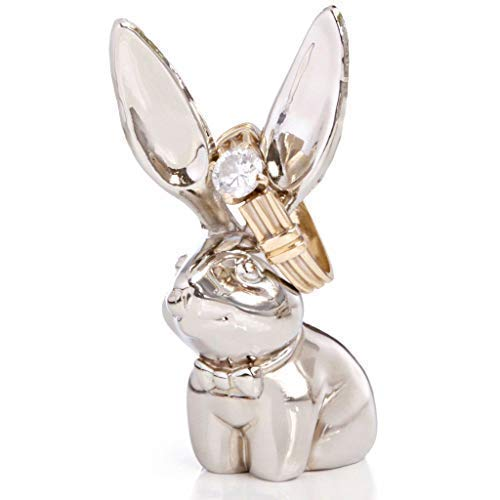 Pardao Bunny Ring Holder - Chrome Jewelry Ring - Silver Bunny