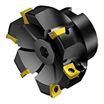 """Sandvik Coromant RA590-063R19S-11M CoroMill Century Square Shoulder Milling Cutter, Steel, Screw Clamp, Right Hand, 3/4"""" Arbor, 2.5"""" Cutting Diameter x 1-37/64"""" Overall Length, 11 Insert Size, 5 Close Pitch"""