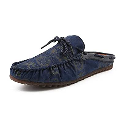 Lvjuzhuangshiaus Men's Fashion Mules Clogs Backless Loafers Slip-on Style Slippers Faux Suede Leather Moccasins Stitching Boat Shoes (Color : Blue, Size : 6 UK)