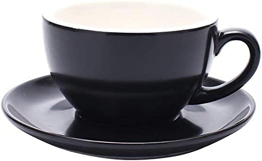 6 Ounce Perfect for Specialty Coffee Drinks Matte Black Latte Sweese 403.114 Cappuccino Cup and Saucer Set Cafe Mocha and Tea