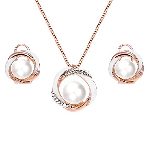 Rose Gold Enameled White Twisted Circle with Pearl CZ Pendant Necklace & Stud Earrings Jewelry Set