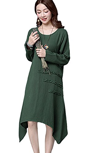 Vogue of Eden Women Casual Loose Fit Vintage Long Sleeve Linen Dress with Pocket Green - Eden Junior Bridesmaid Dress