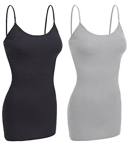 Emmalise Women Camisole Built in Bra Wireless Fabric Support Long Layering Cami, Small, 2Pk H Charcoal H Gray (Best Wireless Plans For 2)