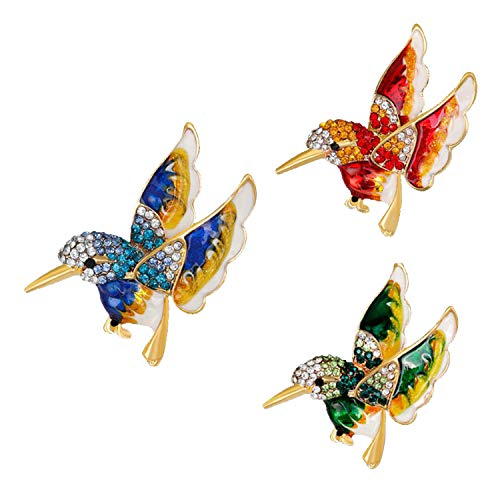 (RINHOO FRIENDSHIP 3pcs Birds Brooches Pin Crystal Oil Painting Enamel Hummingbird Swallow Colorful Bird Shape Corsage (3pcs)