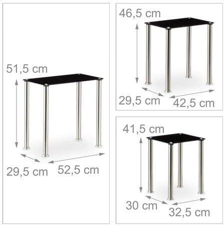 Nero Tavoli Impilabili HxLxP: 51,5 x 52,5 x 29,5 cm Argento Relaxdays Set 3 Tavolini Sovrapponibili da Salotto Struttura Robusta in Metallo Vetro a Specchio