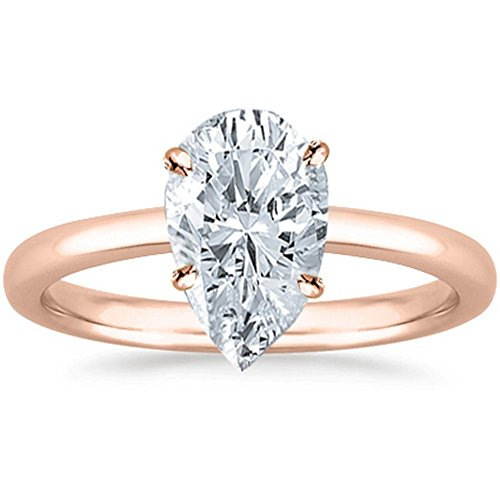 1/3 Carat 14K Rose Gold Pear Cut Solitaire Diamond Engagement Ring (0.3 Carat H-I Color SI2-I1 Clarity)