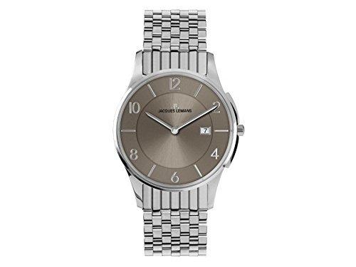 Jacques Lemans London 1-1781W 38mm Silver Steel Bracelet & Case Mineral Men's & Women's Watch