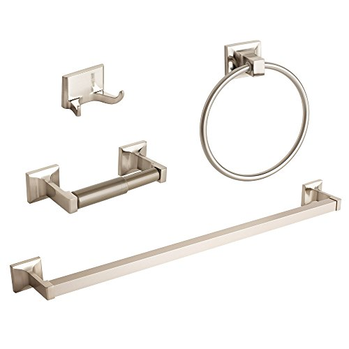 GotHobby 4 Pcs Brushed Nickel Bathroom Hardware Accessory Set Towel Bar  Hook Ring Holder     Amazon.com