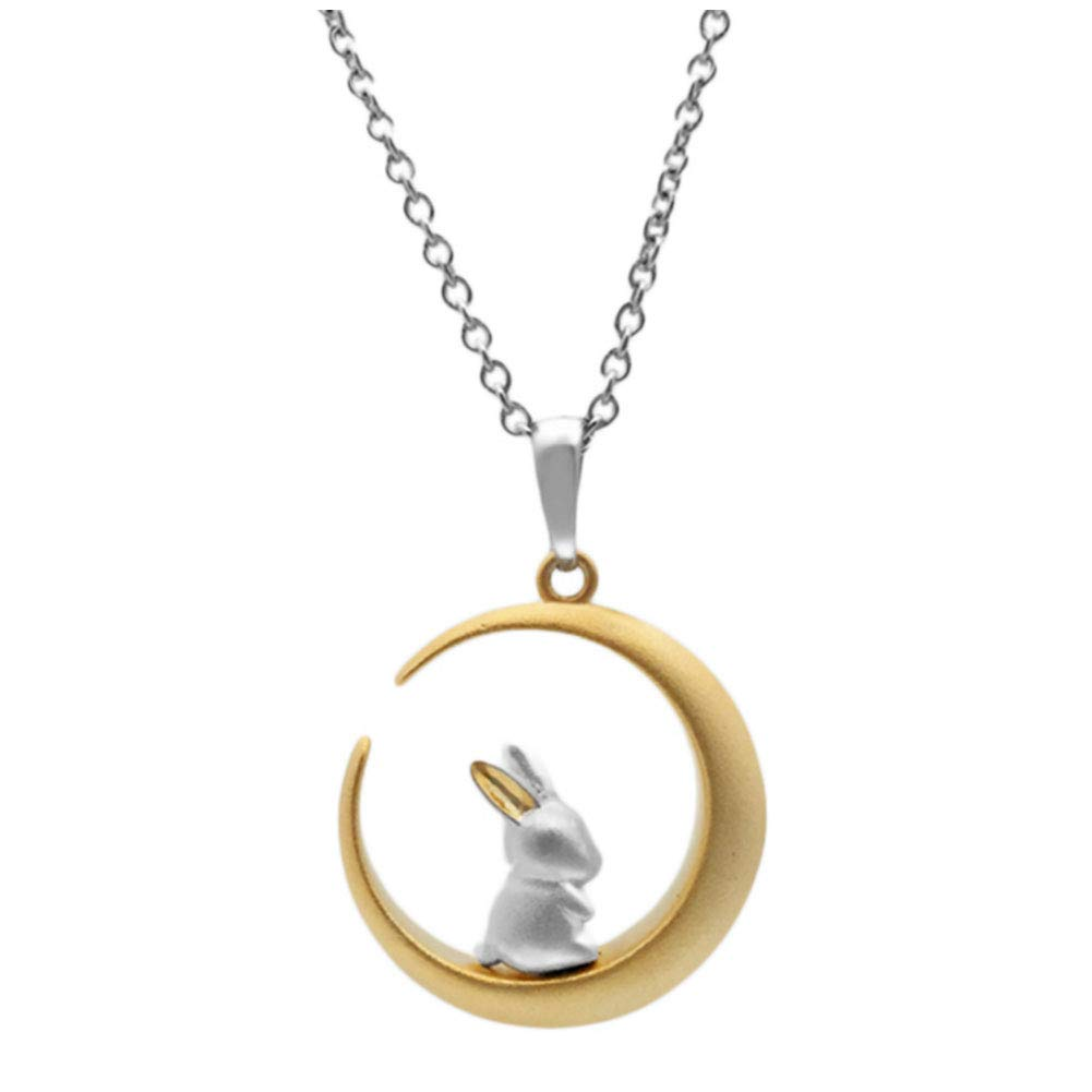 Helen de Lete Bunny On The Moon 925 Sterling Silver Collar Necklace