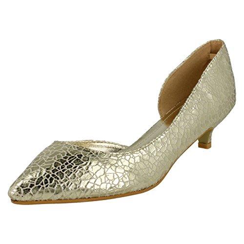 Dames Savannah Découpées Chaussures À Talons Chaton Côté Or