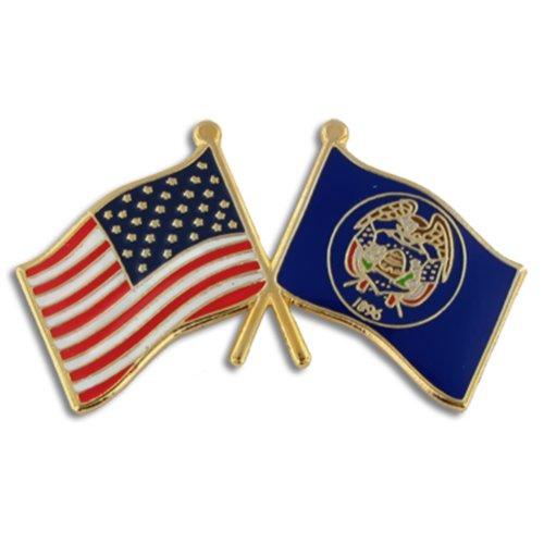 hot PinMart's Utah and USA Crossed Friendship Flag Enamel Lapel Pin big discount