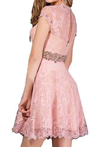 Abendkleid Promkleid Linie Beliebt Ivydressing Aermel Spitze Festkleid A Mini Damen Partykleid Rosa Kurz wFfxOf