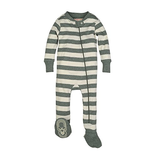 Burt's Bees Baby Baby Organic Zip Front Sleeper, Dried Leaf Heather Stripe, 0-3 - Clothing Lf
