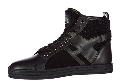 Los mejores precios en línea Extremadamente Hogan Damas Rebeldes Zapatos De Cuero Altas Zapatillas De Deporte De Las Mujeres R182 Mediados Cortan Negro Pague con Paypal en línea barato Precio más barato en línea Venta Footlocker Finishline 5NRmQ55UK