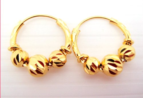 22K 24K THAI BAHT YELLOW GOLD GP EARRINGS JEWELRY E 30 Buy