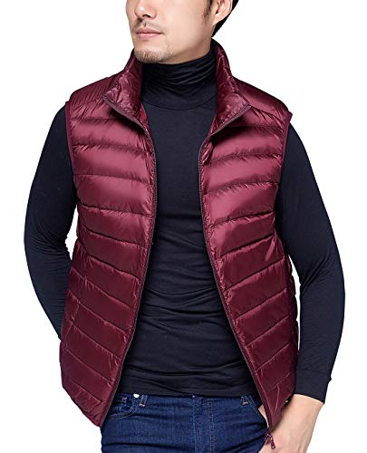 AIEOE Mens Padded Gilet Winter Warm Down Vest Soft Ultralight Puffer Jacket Coat Wine Red